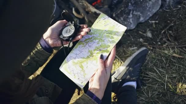 Crop tourist exloring map with compass