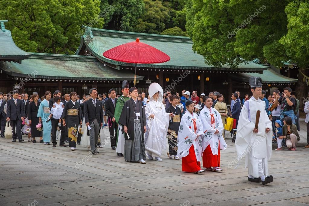 Traditional Japanese Wedding.A Traditional Japanese Wedding Ceremony At Meiji Jingu Shrine