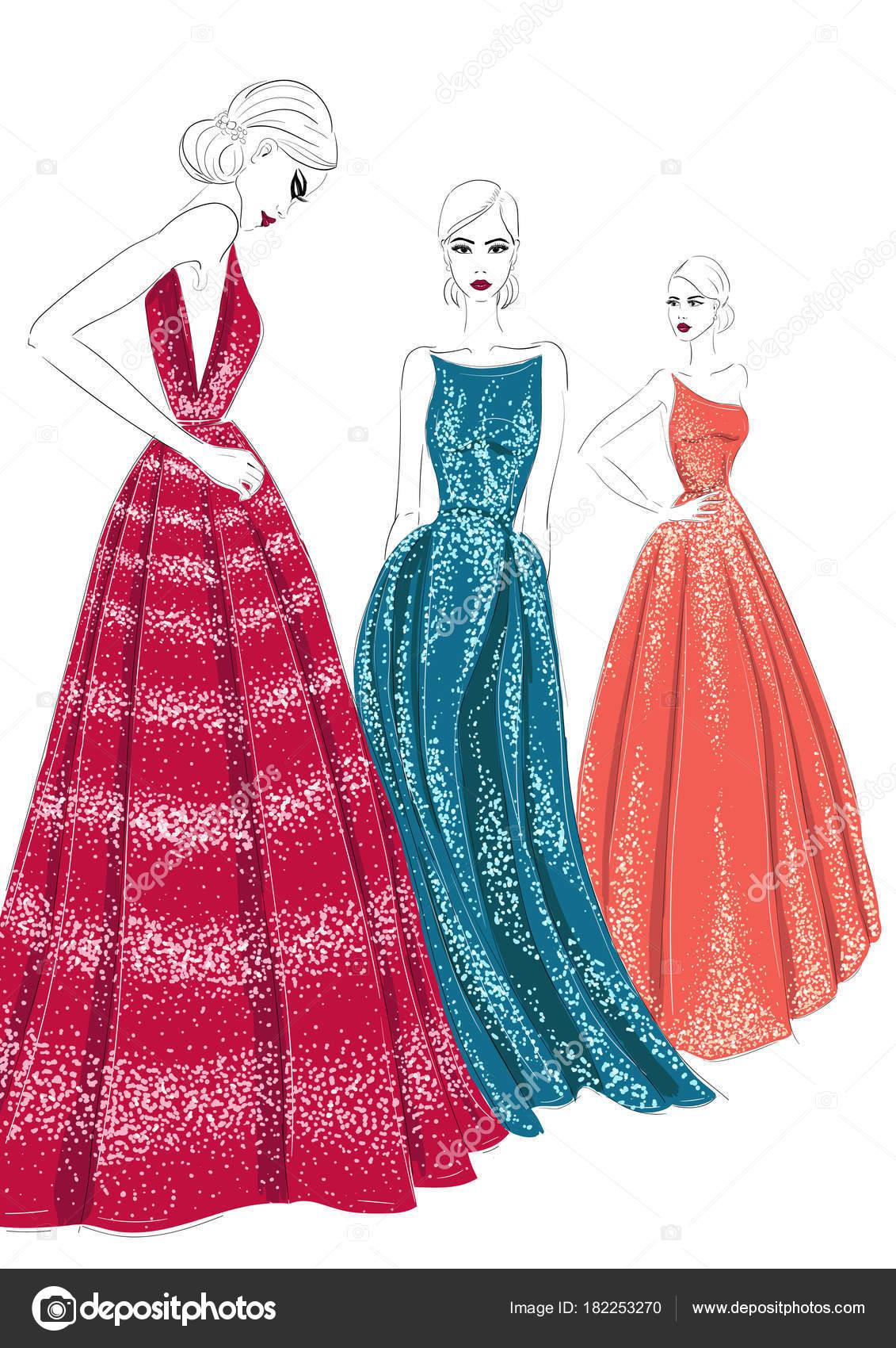 Avondjurken Modellen.Drie Modellen In Couture Jurken Stockvector C Aliona3333 182253270