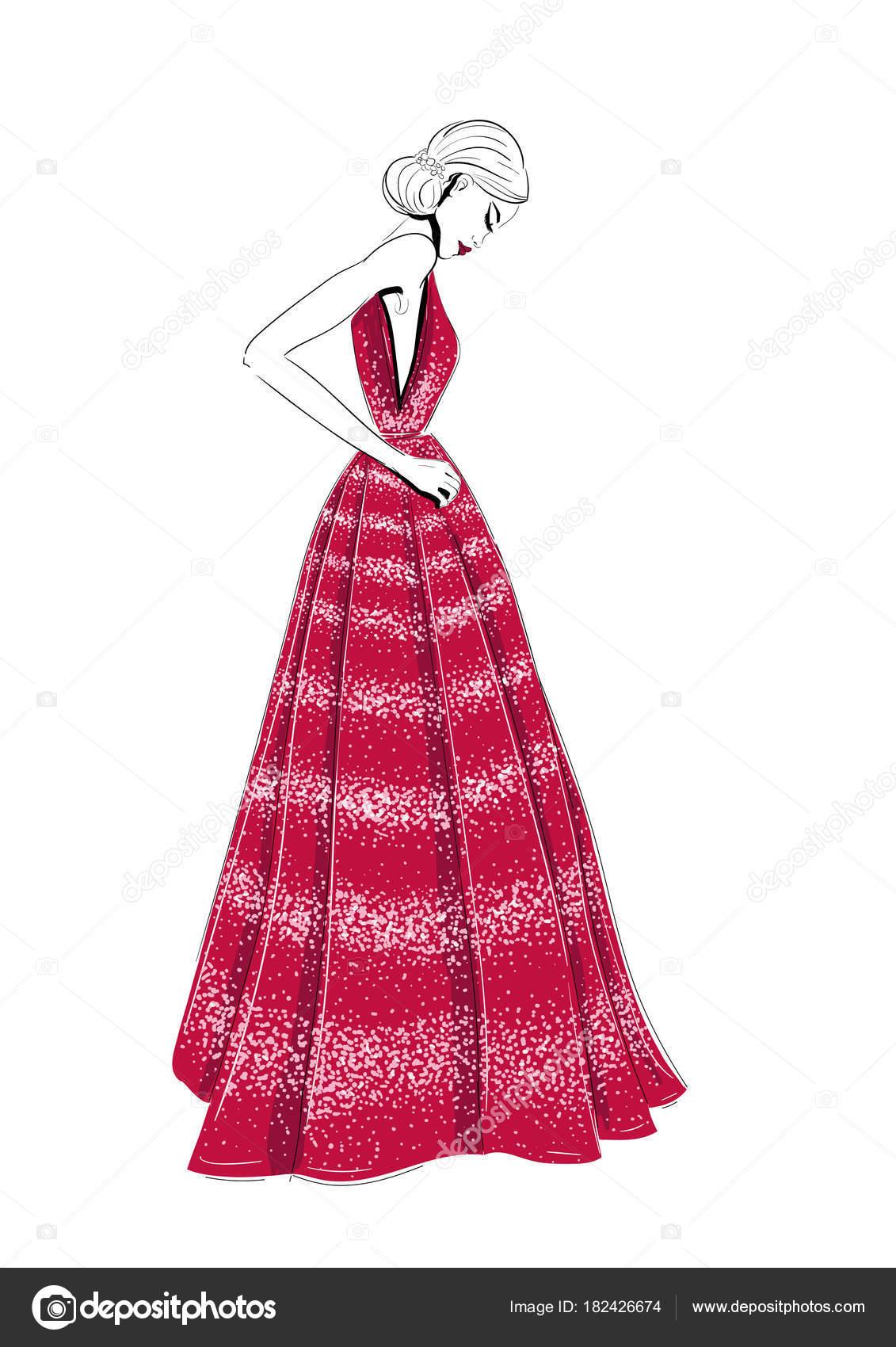 Modelo en vestido rojo de alta costura — Vector de stock ...
