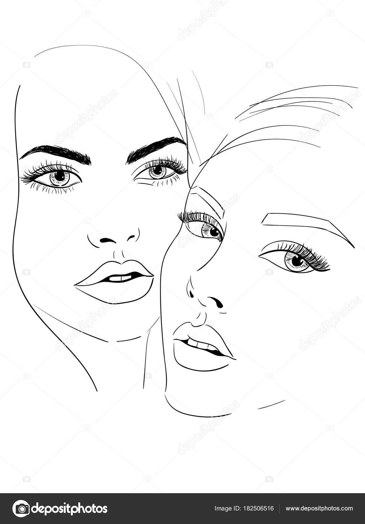 Dibujo de caras de dos mujeres archivo imágenes vectoriales