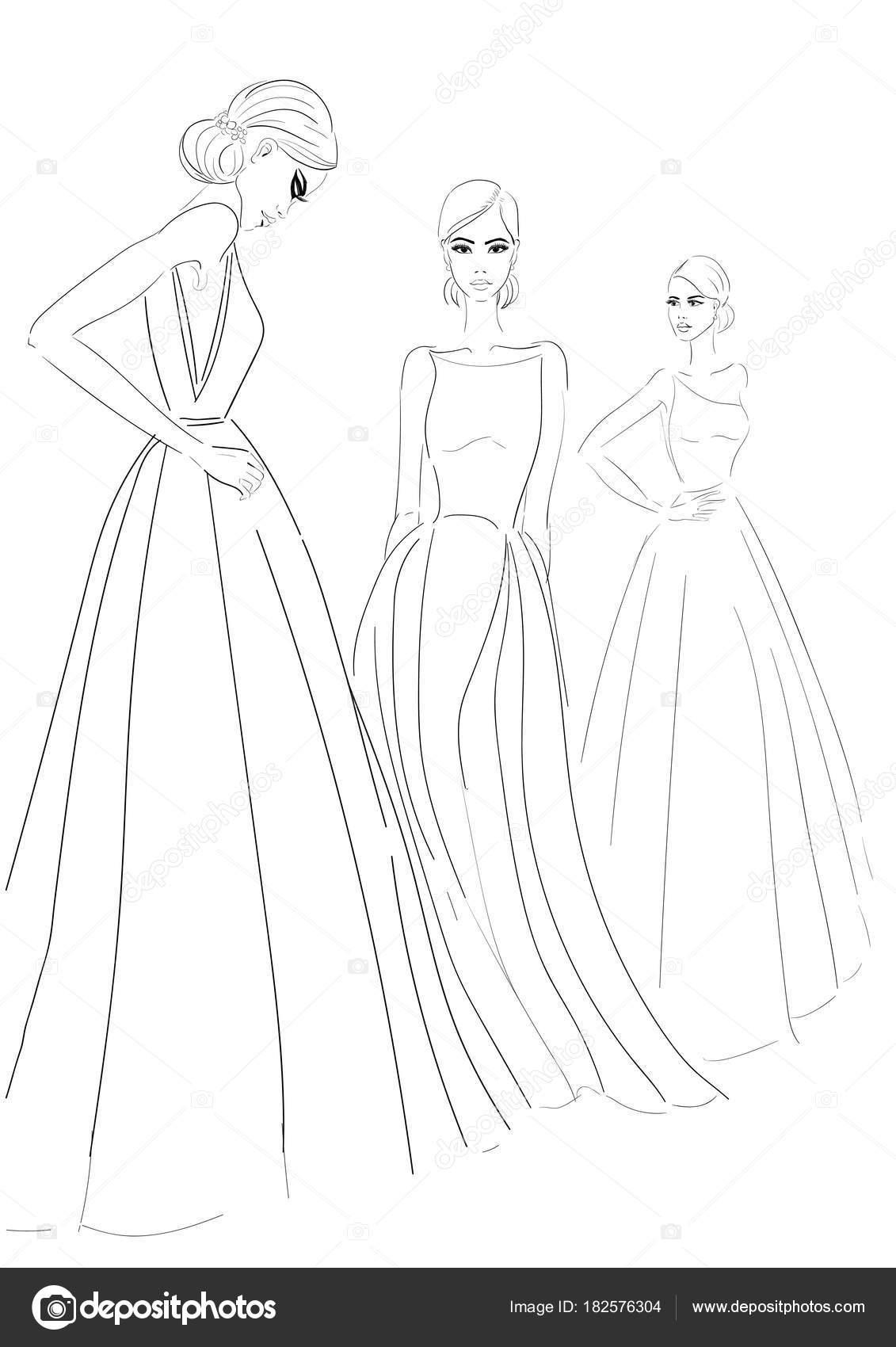três modelos no desenho de vestidos de alta costura — Vetores de ...