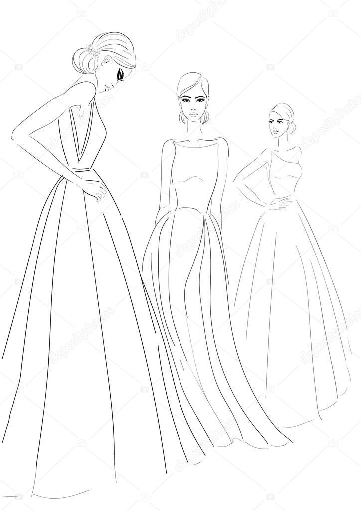 3fd8cd27d0b2eb drie modellen in couture jurken schets — Stockvector © aliona3333  182576304