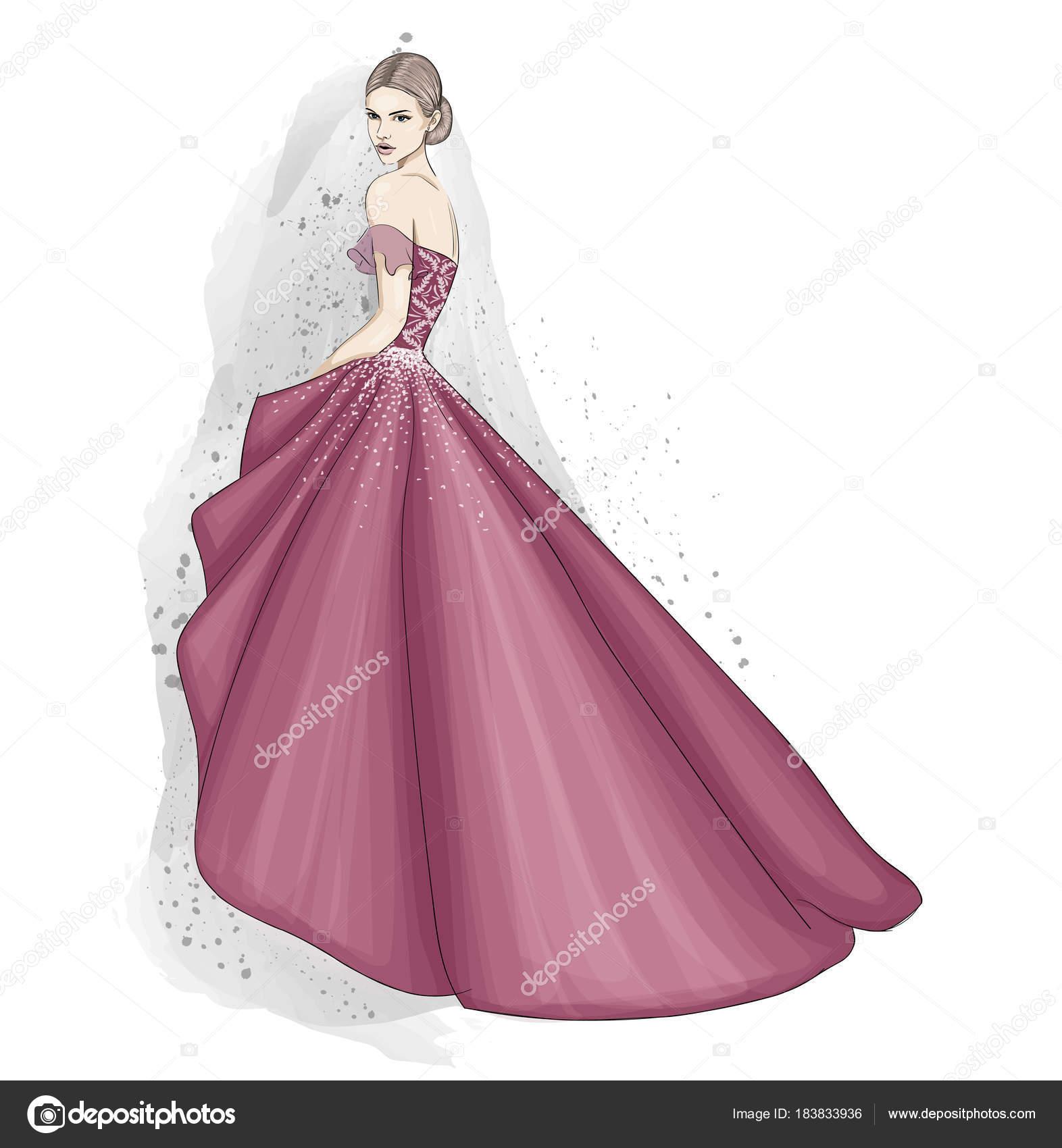 tierna mujer en vestido de alta costura — Vector de stock ...