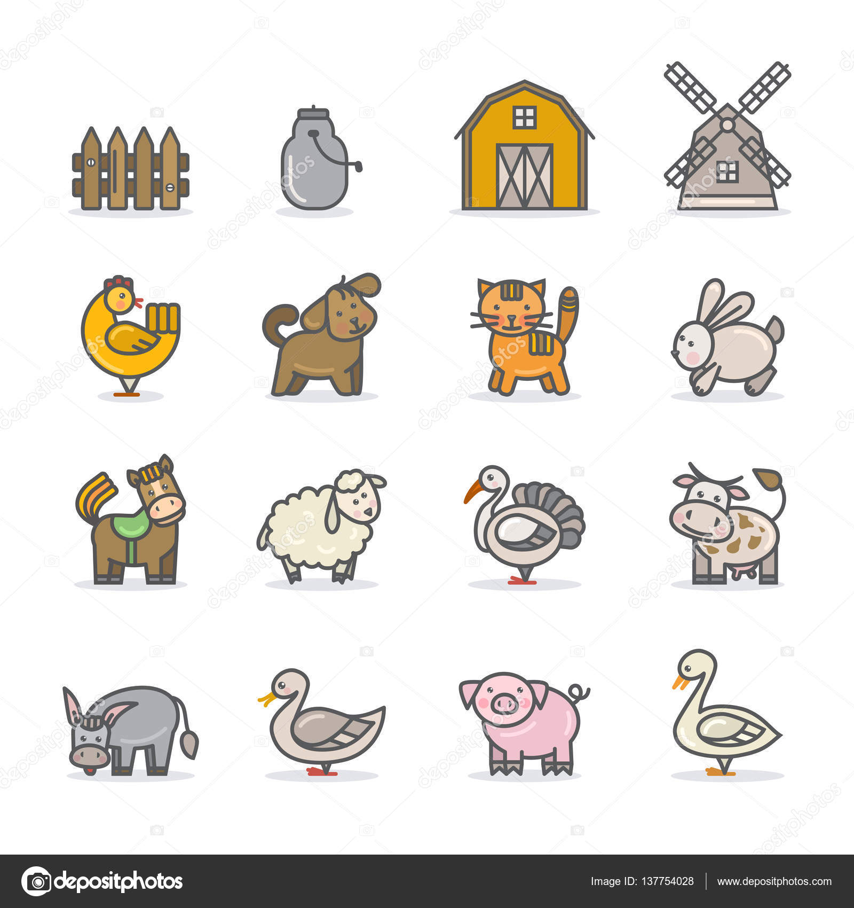 Insieme dell 39 icona di fattoria animali vettoriali stock for Piani di fattoria georgiana