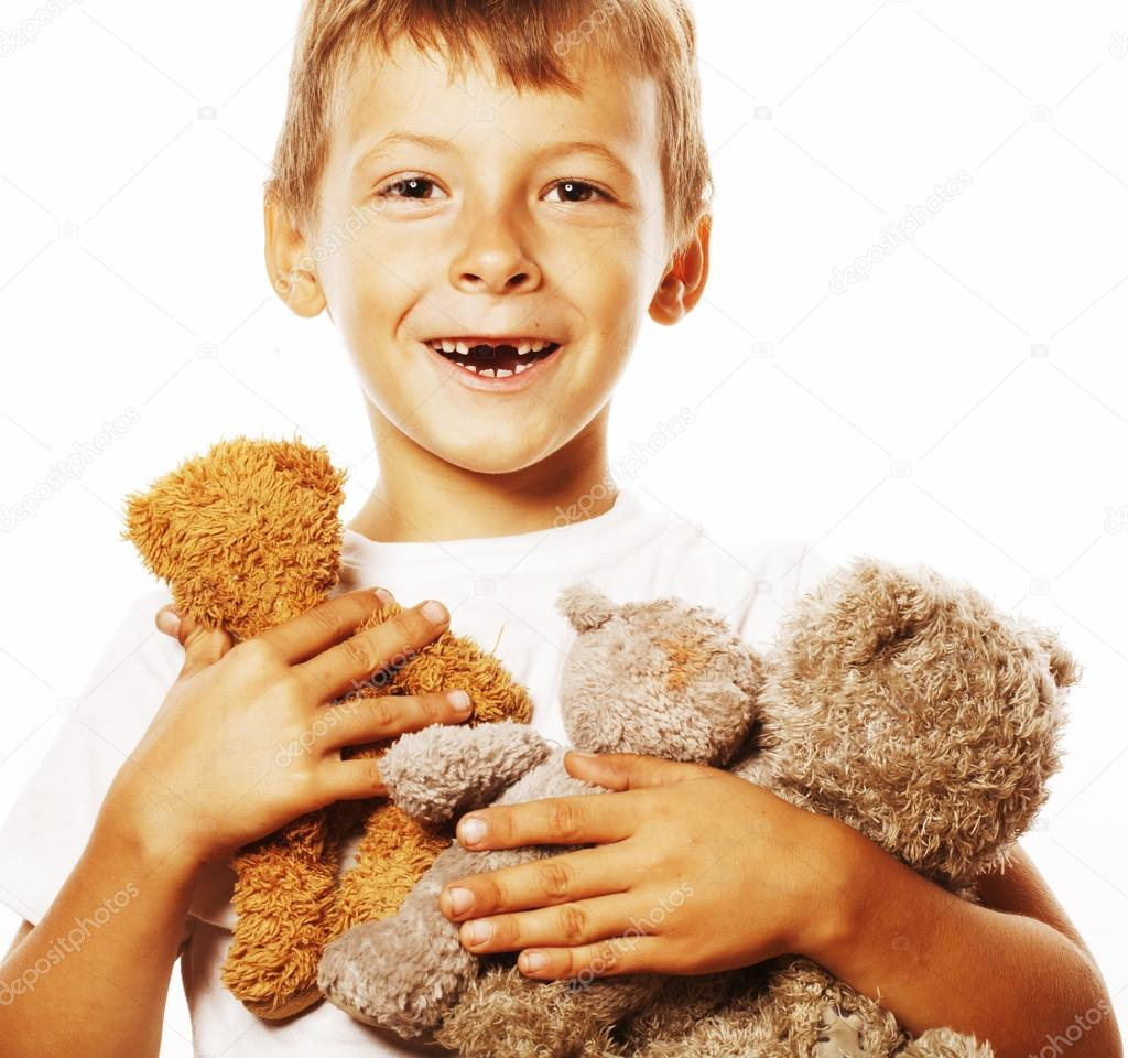 Little Cute Boy With Many Teddy Bears Hugging Isolated Close Up Huging Sponge Stock Photo