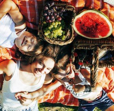 Cute happy family on picnic