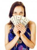 Fotografie hübsche junge Frau mit Geld