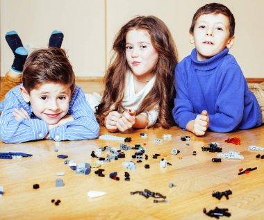 funny cute children playing lego