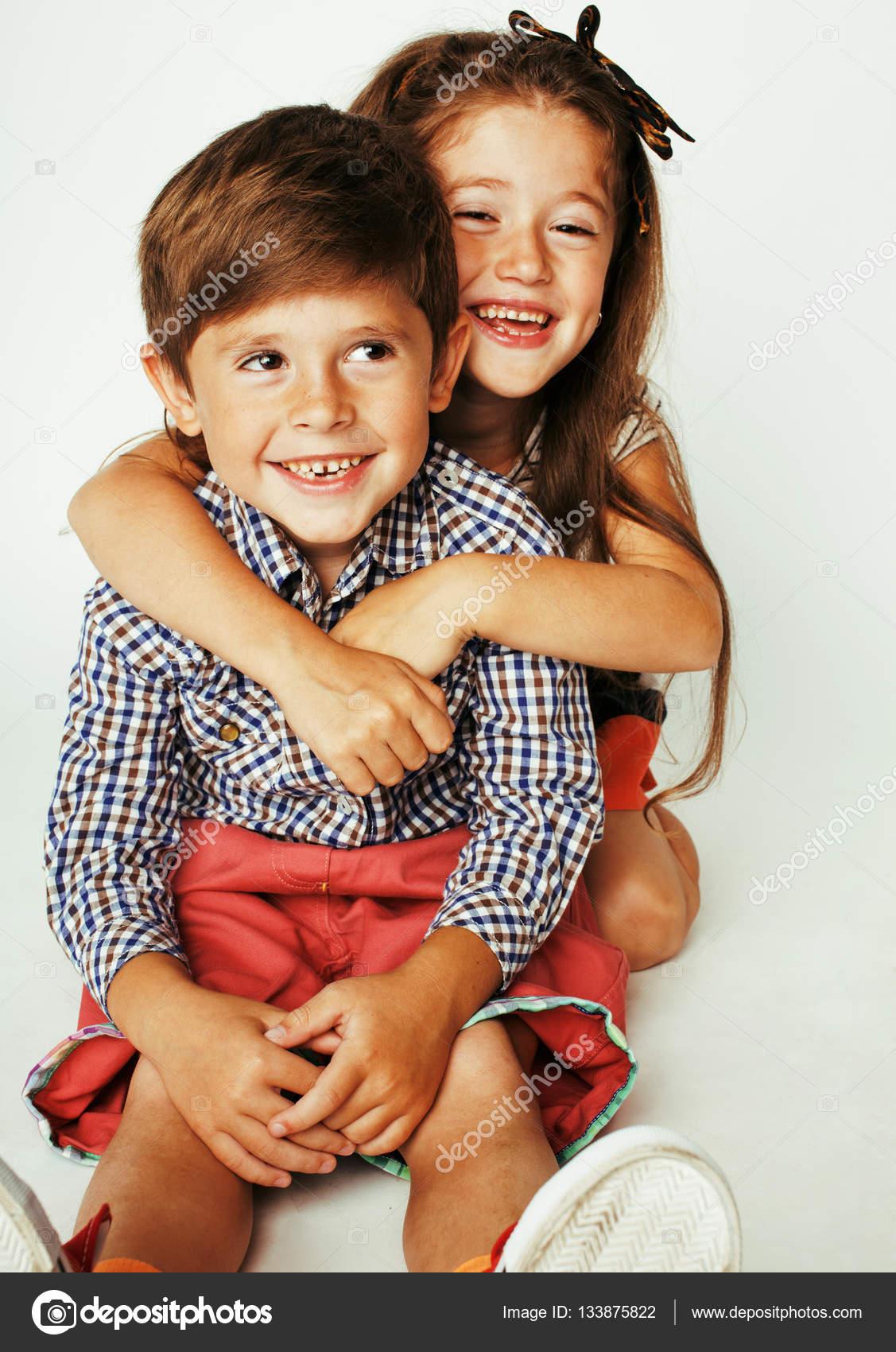 little cute boy and girl hugging — stock photo © iordani #133875822