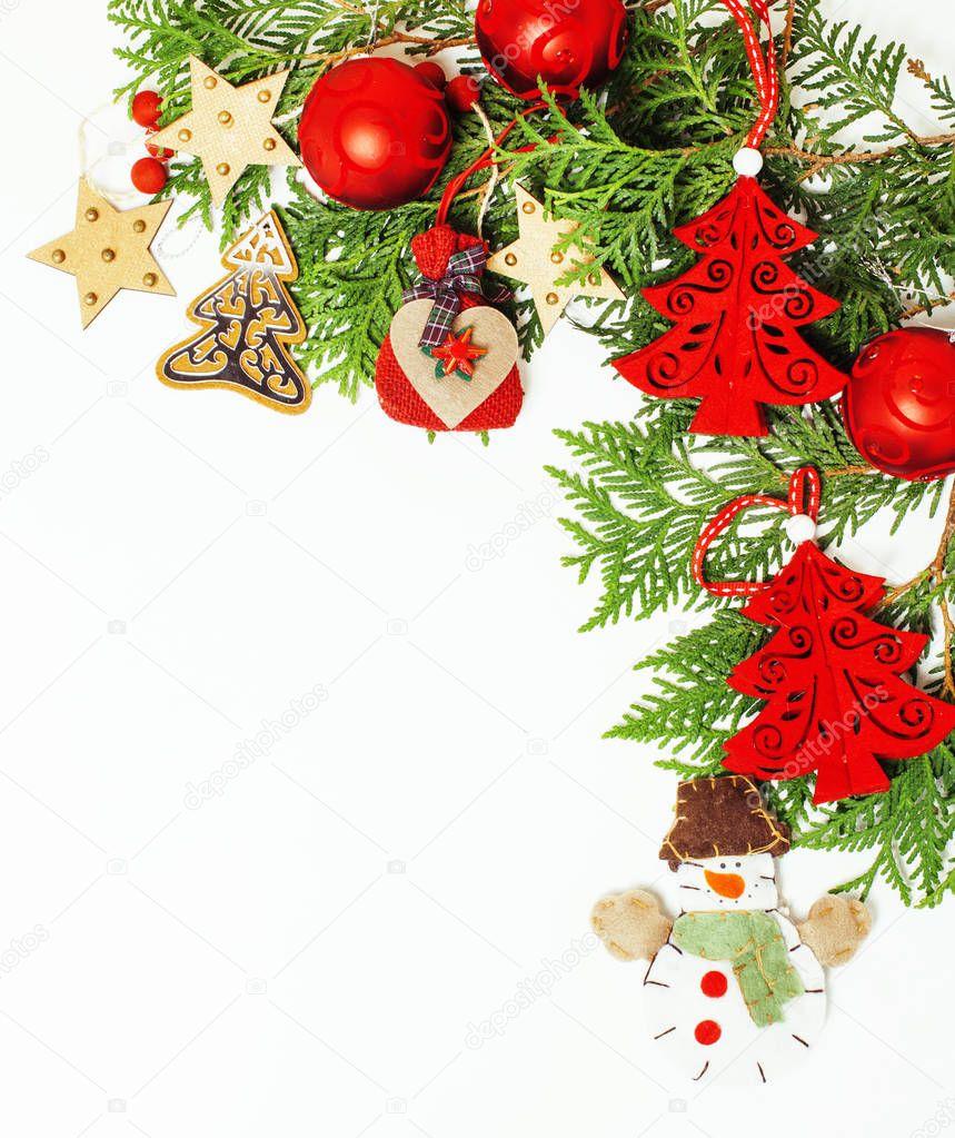 Décoration de Noël isolée, fond blanc pour carte postale vintage de cadeau, fond, texte, mode ...