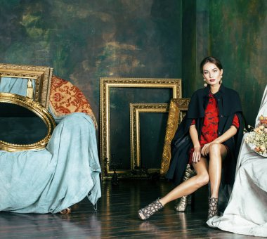 woman in luxury interior