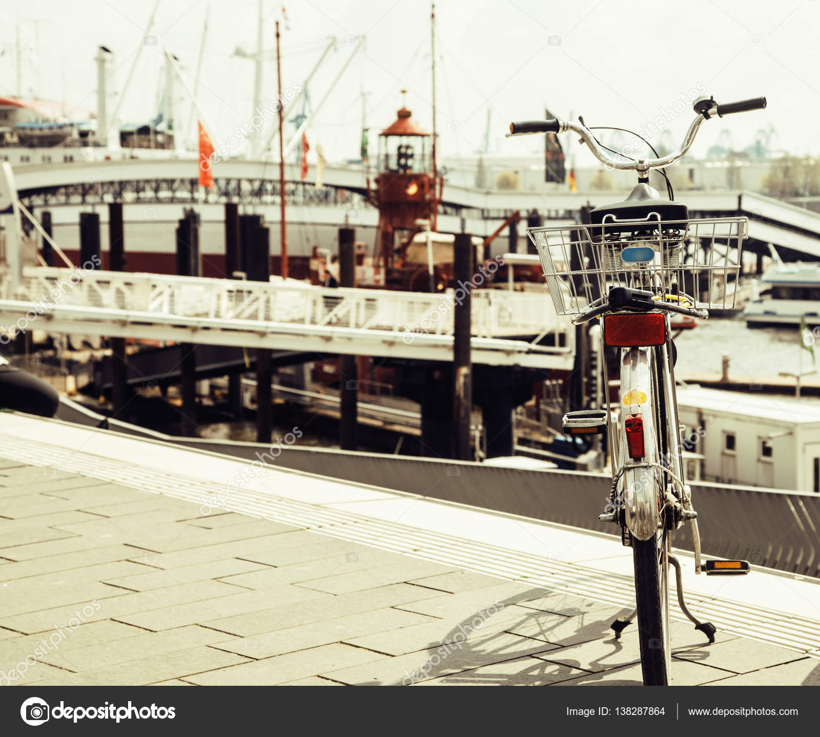 Stock photo hamburg germany riverside new - Post Card City View From Vintage Bicycle Riverside Germany Hamburg Close Up Port Photo By Iordani