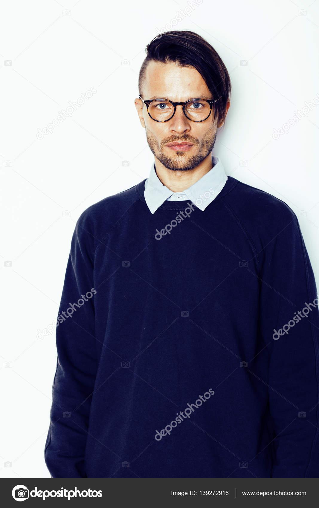 Schone Mittelalter Hipster Mann Mit Modernen Frisur Und Tattoo Bart