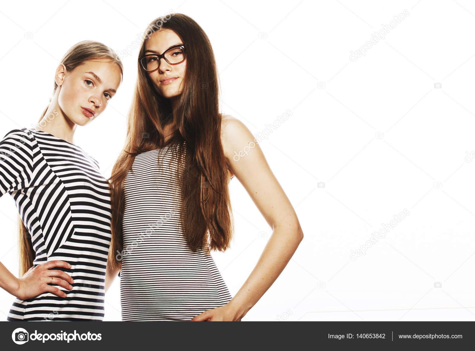 Teen girls in white