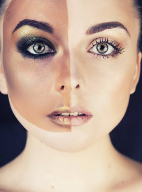 half faced woman before tanning and after close up isolated on w