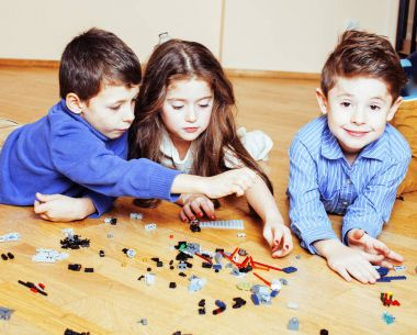 funny cute children playing toys