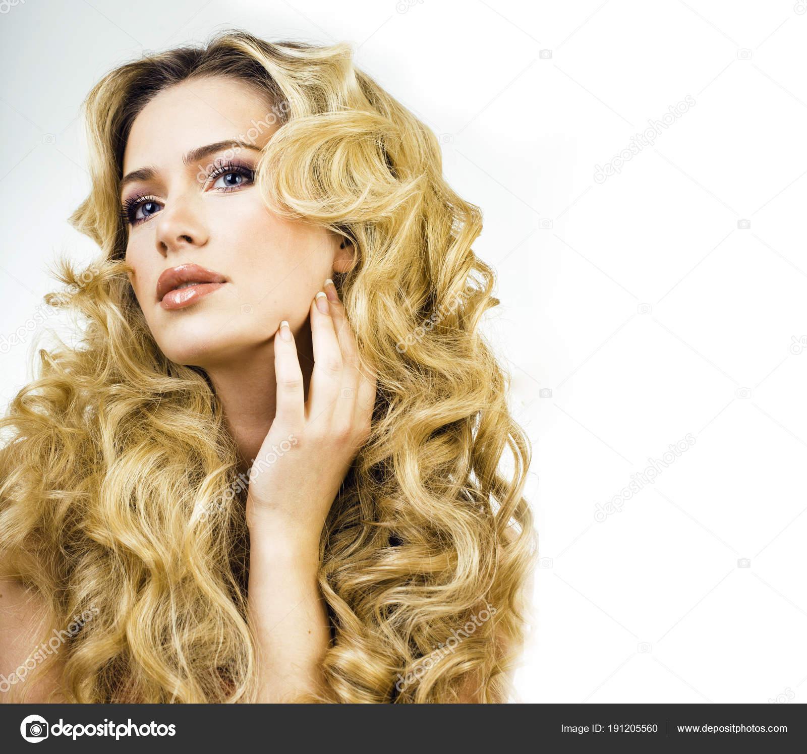 Blick Blond Frau Mit Lange Locken Schliessen Sich Isoliert Haare