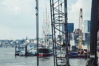 post card view city hamburg harbor with ships closeup