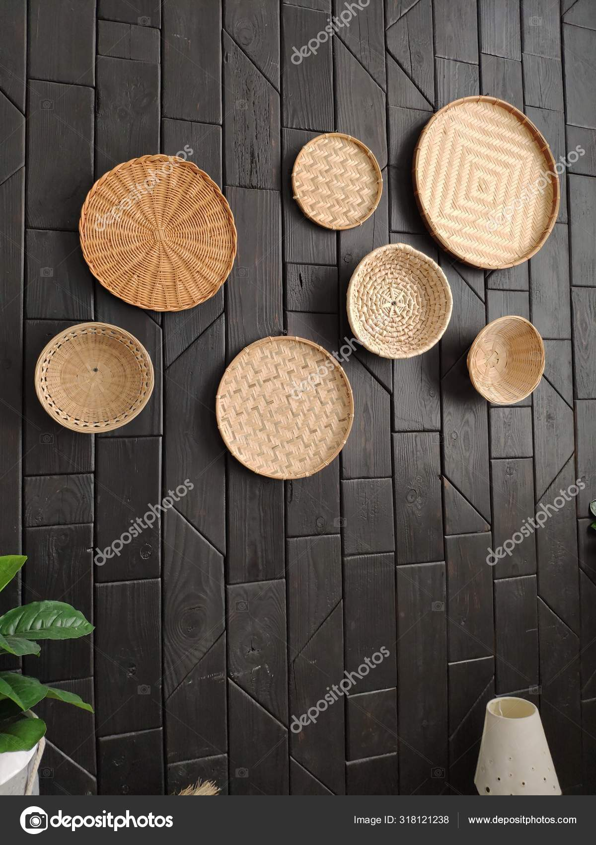 Dark Wall Decor Wicker Plates Baskets Wall Wicker Plates Wall Stock Photo C Volonterats Gmail Com 318121238