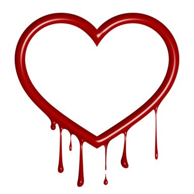 Dripping heart on a white background