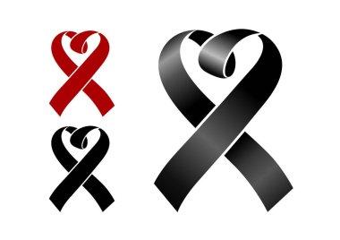 Ribbon - Femicide symbol on white background