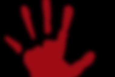 Stop violence - Red hand imprint on a black background
