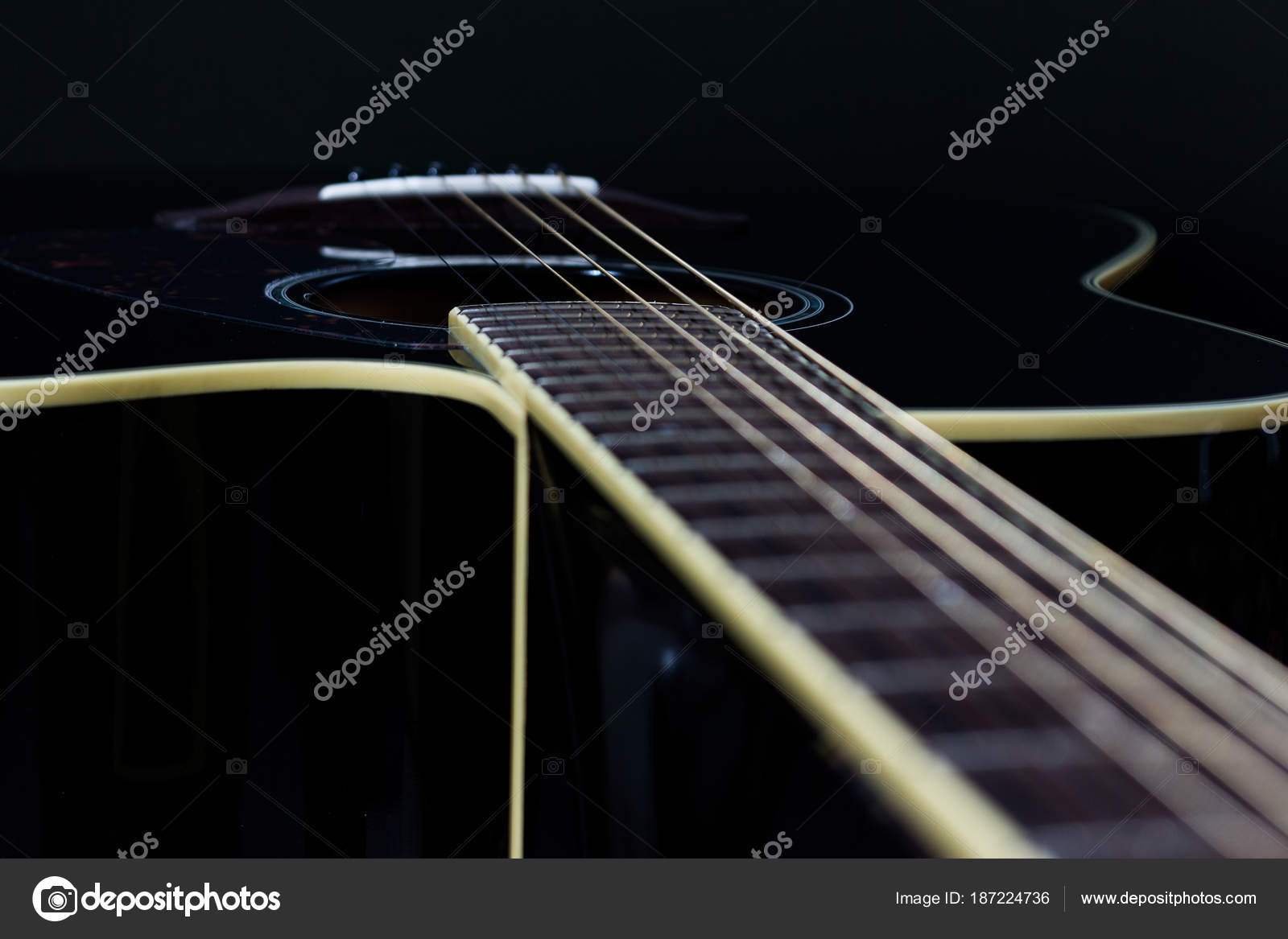 Acoustic Guitar Black Background Stock Photo C Carlo Fornitano