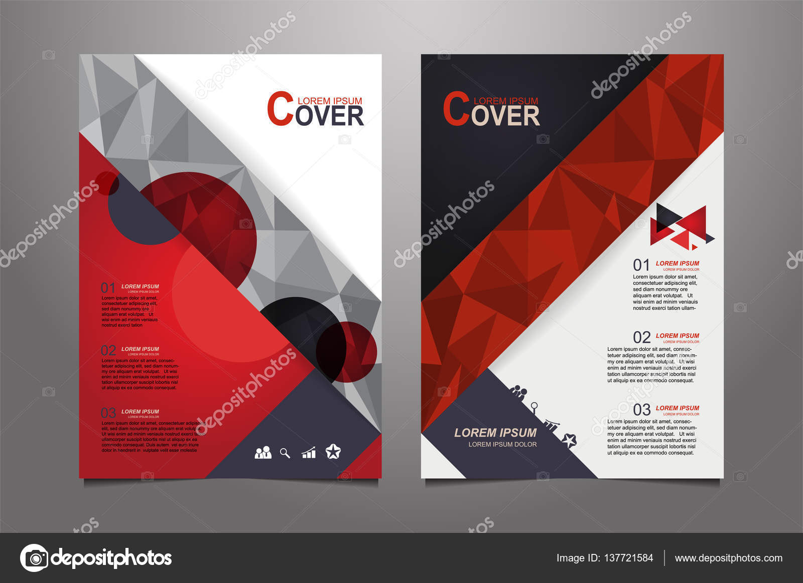 абстрактная красная презентация книги обложка дизайн шаблоны