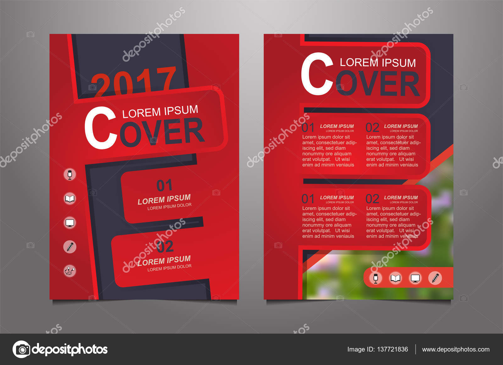 Abstract Red Presentation Book Cover Templates Stock Vector