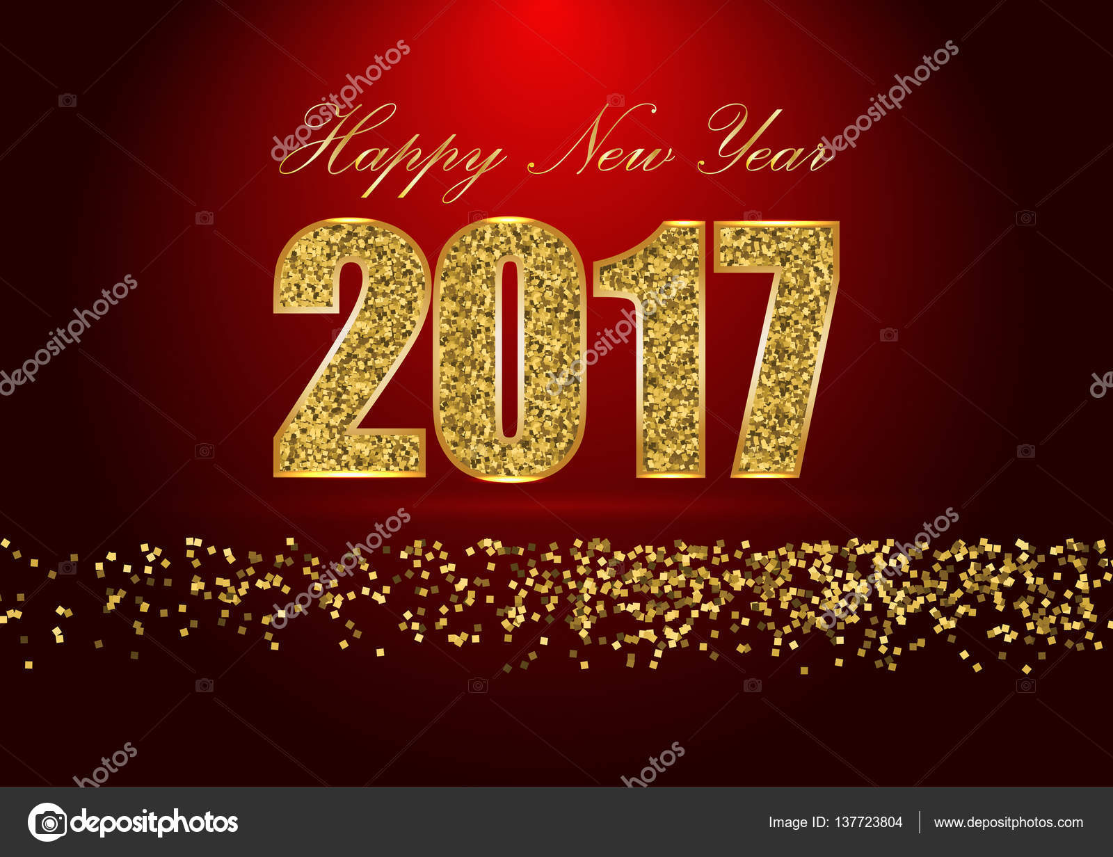 happy new year 2017 golden letter with gold glitter texture border over red background vector by john99
