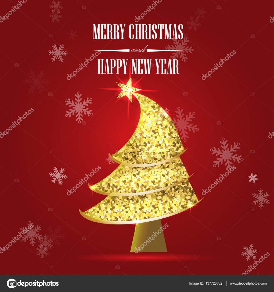 Merry christmas and happy new year golden glitter xmas tree. — Stock ...