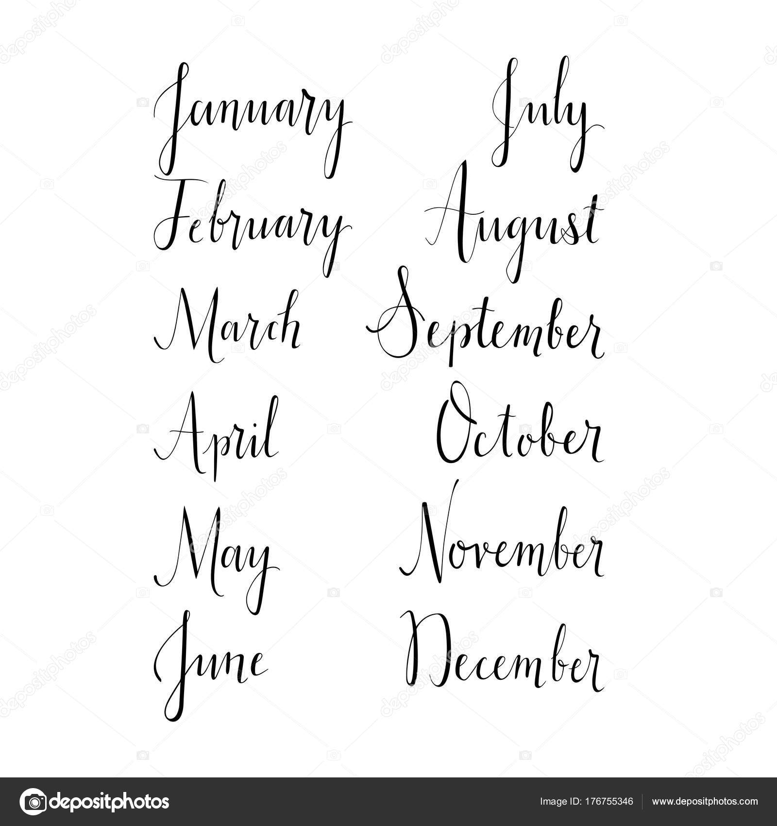 Hand Lettered Names Months January February March April May