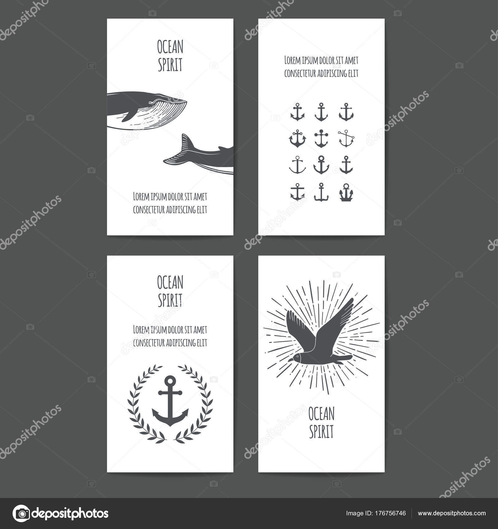 Set Nautical Greeting Cards Seamless Patterns Whales Anchors