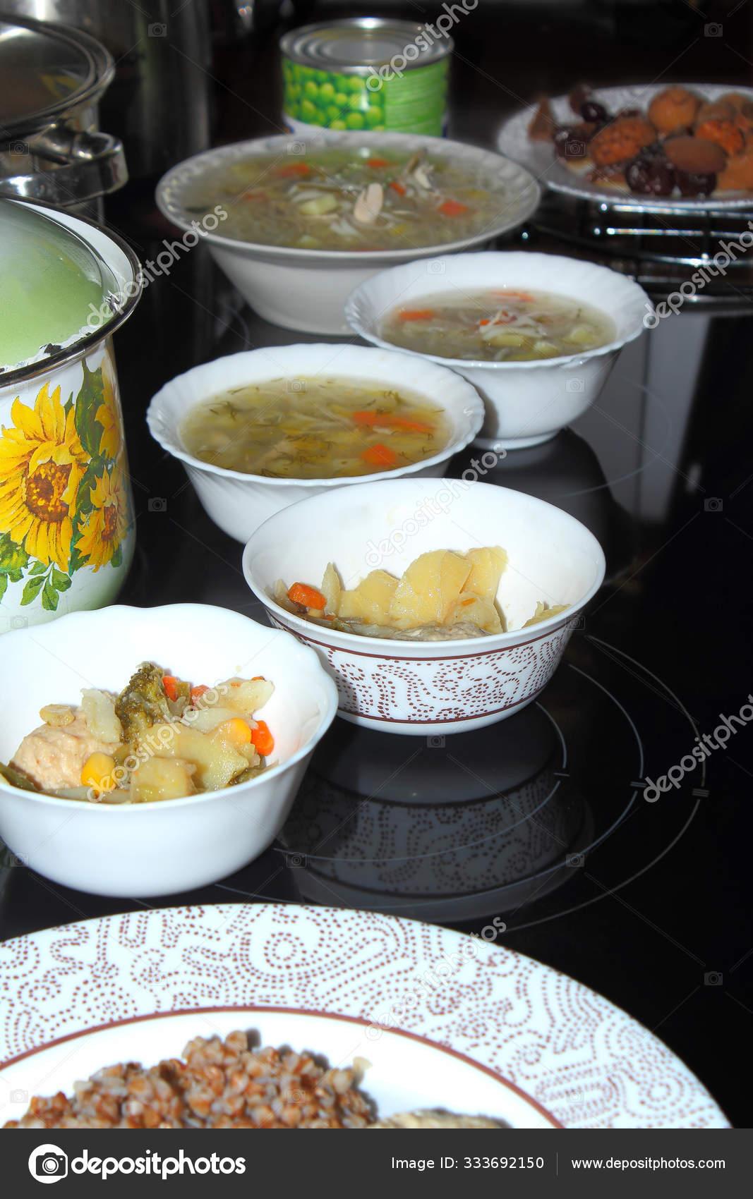 Plates Food Pans Table Plates Contain Soup Porridge Potatoes Meat Stock Photo C Fomich Off 333692150