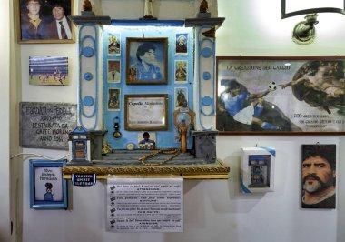 Naples Campania Italy. The cult of Diego Armando Maradona in a bar of Spaccanapoli downtown quarter