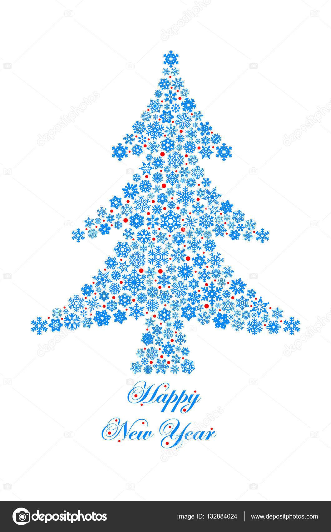 Weihnachtsbaum Gezeichnet.Weihnachtsbaum Gezeichnet Von Schneeflocken Stockfoto Afromeev