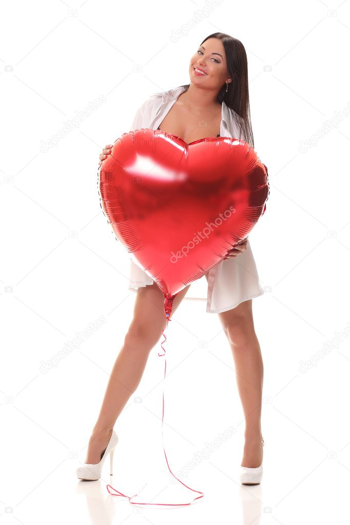 Girl With An Inflatable Heart U2014 Stock Photo