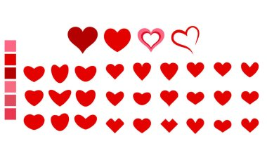Vector heart shape of different types with color pallets, illustration design elements. icon