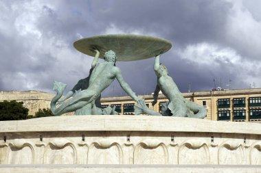 Triton Fountain in front of city gate, Valletta, Malta