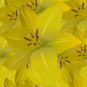 Yellow lily. Gold floral background. Endless vector pattern. Summer flower. Seamless repeating ornament. Flat style. Idea for web design, wallpaper, cover, packaging. A symbol of beauty and freshness.