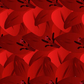 Scarlet lily. Bright floral background. Endless vector pattern. Summer flower. Seamless repeating ornament. Flat style. Idea for web design, wallpaper, cover, packaging. A symbol of beauty and freshness.