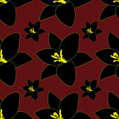 Black Lily. Abstract floral background. Endless vector pattern. Isolated burgundy background.Seamless repeating ornament. Summer flower. Cartoon style. Idea for web design, wallpaper, cover, packaging. A symbol of beauty and freshness.