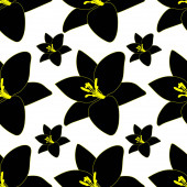 Black Lily. Abstract floral background. Endless vector pattern. Isolated colorless background.Seamless repeating ornament. Summer flower. Cartoon style. Idea for web design, wallpaper, cover, packaging. A symbol of beauty and freshness.