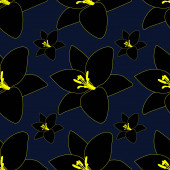 Black Lily. Abstract floral background. Endless vector pattern. Isolated blue background.Seamless repeating ornament. Summer flower. Cartoon style. Idea for web design, wallpaper, cover, packaging. A symbol of beauty and freshness.