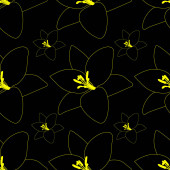 Black Lily. Abstract floral background. Endless vector pattern. Isolated black background.Seamless repeating ornament. Summer flower. Cartoon style. Idea for web design, wallpaper, cover, packaging. A symbol of beauty and freshness.