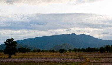 Beautiful mountains landscape and cloud blue sky