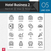 Hotel Business elements set 2 vector black icons on white background. Premium quality outline symbol collection. Stroke vector logo concept, web graphics.