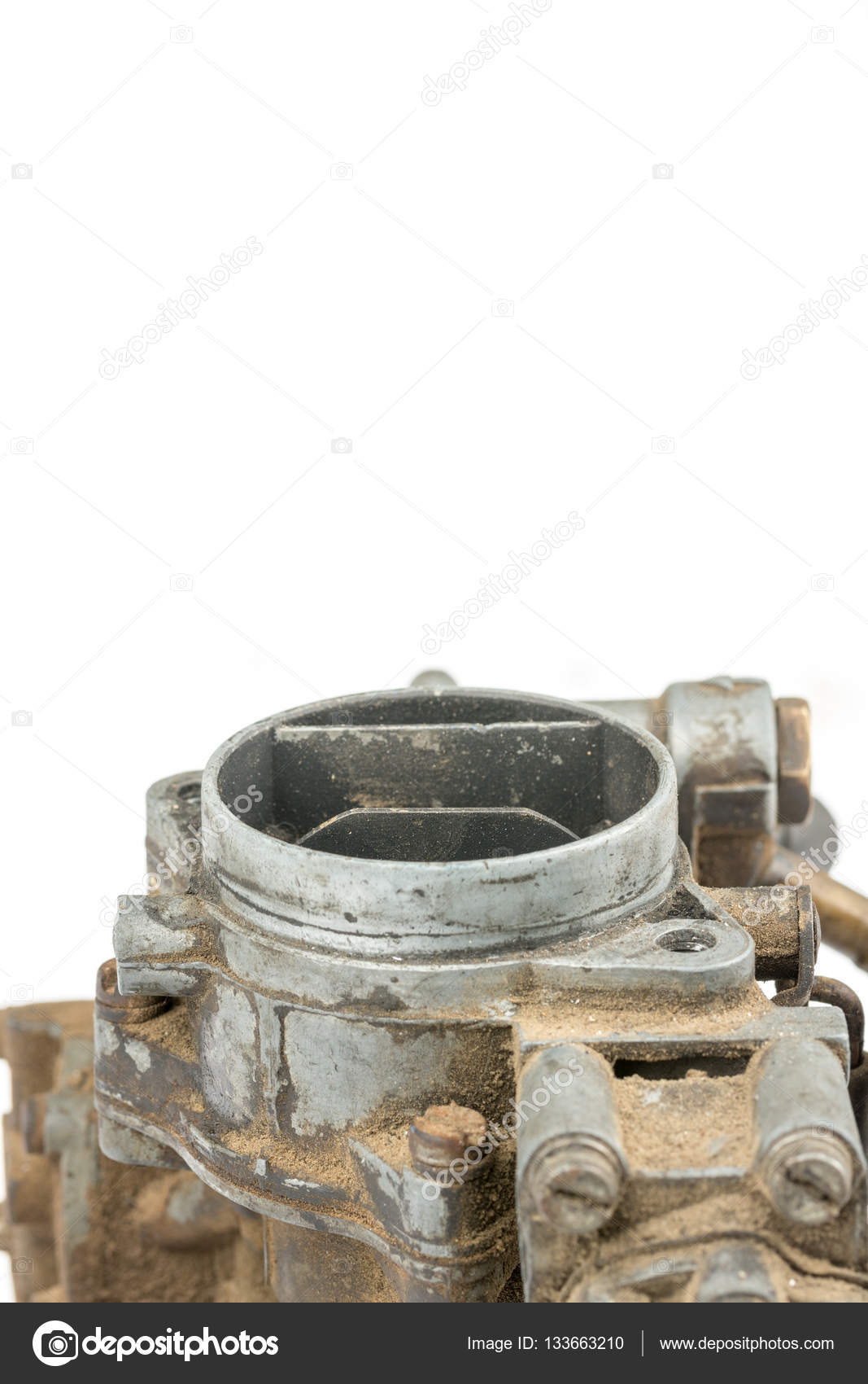 Old dirty used carburetor isolated over white background — Stock