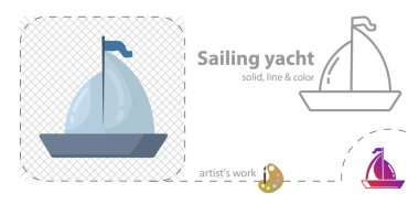 sailing flat, solid, line icon